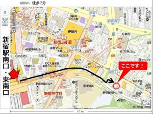 新宿駅南口・東南口からの道順